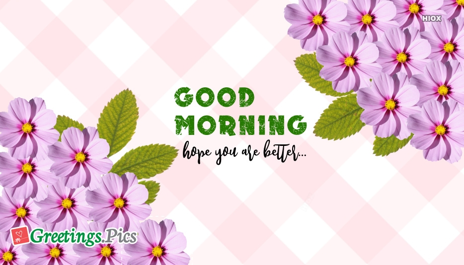 Good Morning Hope You Are Better