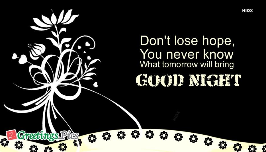 Inspirational Good Night Greeting Image