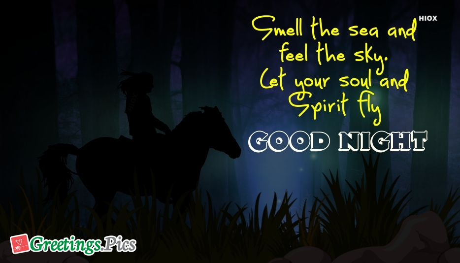 Good Night Quotes In English | Smell The Sea and Feel The Sky.  Let Your Soul and Spirit Fly