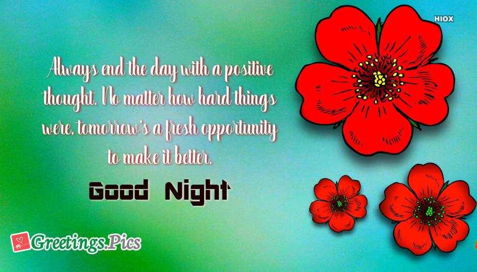 Positive Thought Good Night Greeting Image