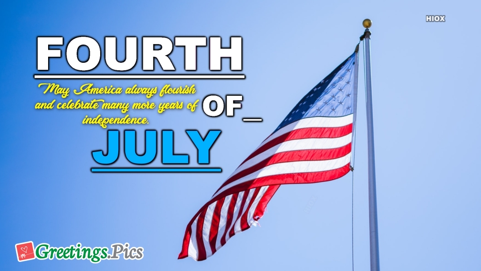 Happy Fourth of July Greeting with US Flag Image
