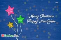 Merry Christmas And Happy New Year Banner Blue